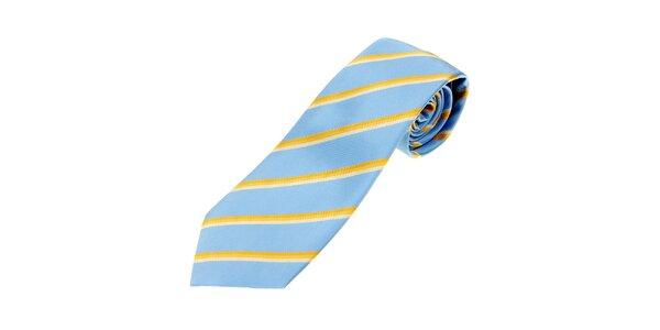 Pánska bledo modrá kravata Les Copains so žltými prúžkami