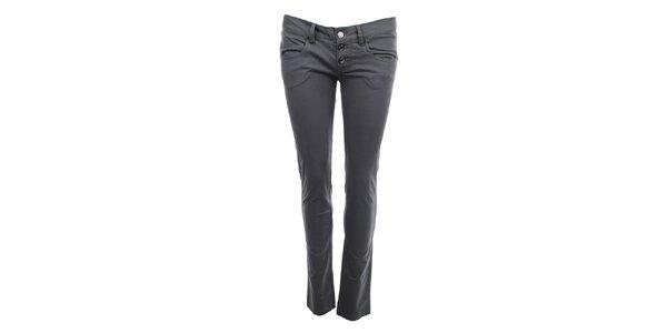 Dámske sivé nohavice s gombíkovým zapínaním Phard