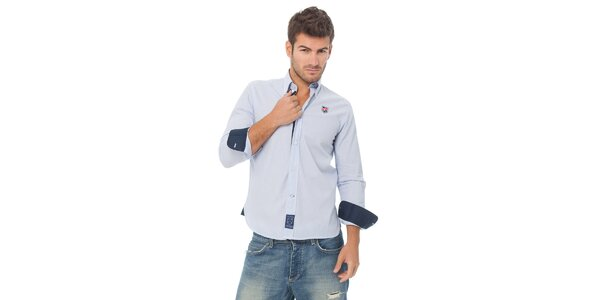 Pánska modrá prúžkovaná košeľa Valecuatro s výšivkou