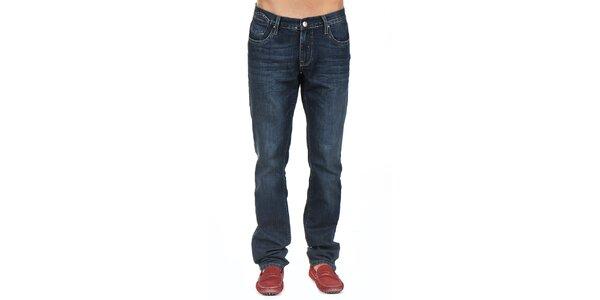 Pánske tmavo modré džínsy s jemným šisovaním Giorgio di Mare