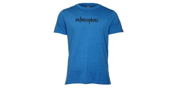 Pánske modré tričko s krátkym rukávom a čiernou potlačou Fundango