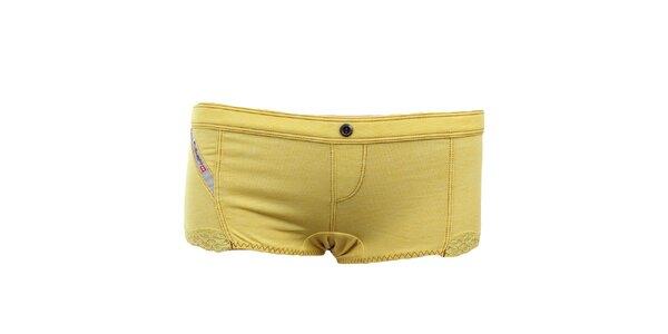Dámske žlté nohavičky s čipkou Diesel