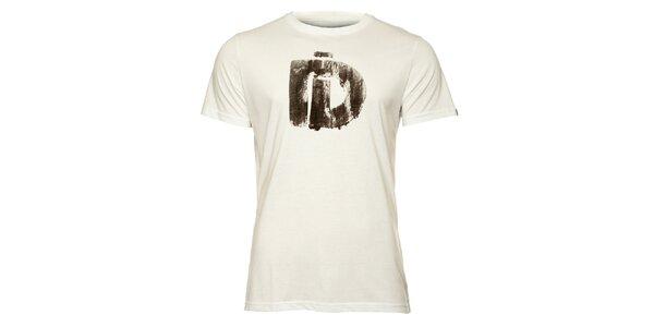 Pánske biele tričko s krátkym rukávom a čiernou potlačou Fundango