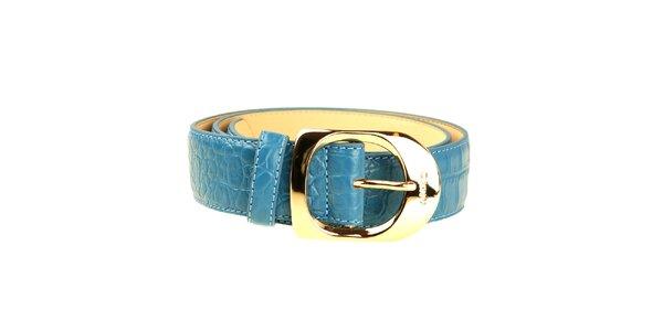 Dámsky modrý opasok so zlatou sponou DKNY