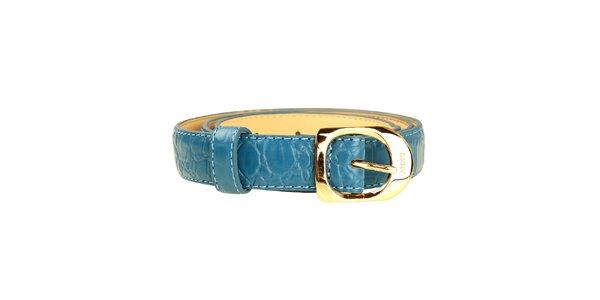 Dámsky modrý tenký opasok so zlatou sponou DKNY
