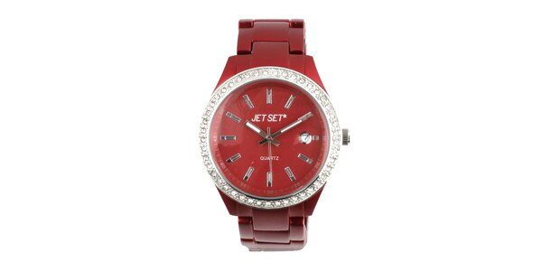 Dámske tmavo červené hodinky s bielymi kamienkami Jet Set