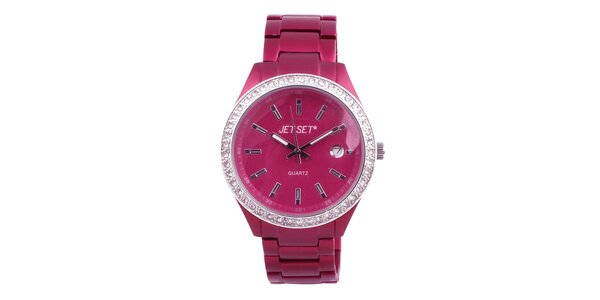 Dámske ružové hodinky s bielymi kamienkami Jet Set
