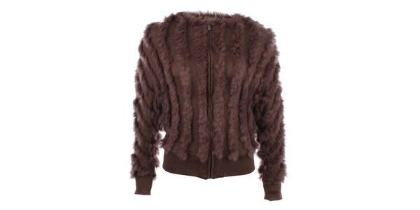 Dámsky huňatý hnedý sveter s kožušinkou Gaudí