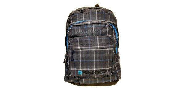 Pánsky šedo-modrý kockovaný batoh s logem Fundango