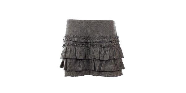 Dámska šedá volánová sukňa s prímesou vlny GAS