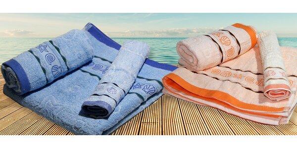 Sety uterákov a osušiek s motívom morských mušlí