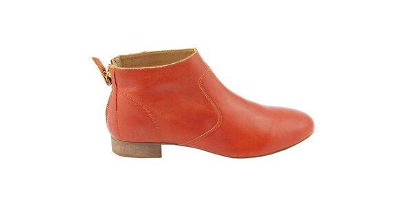 Dámske červené kožené kotníčkové topánky na zips Eye