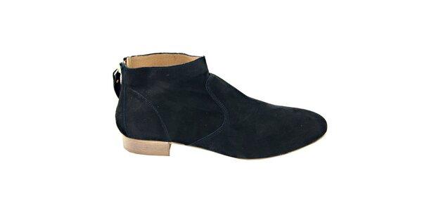 Dámske čierne semišové kotníčkové topánky na zips Eye