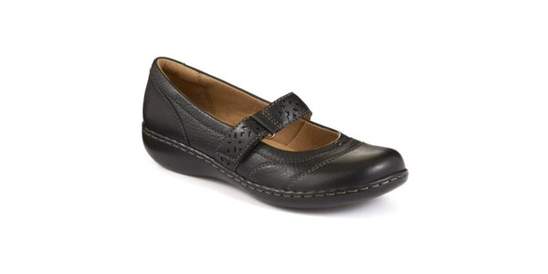 Dámske čierne topánky s remienkom cez nárt Clarks