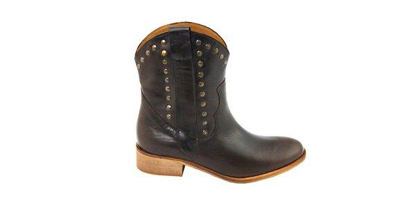 Dámske tmavo hnedé kovbojské topánky s cvočkami Eye