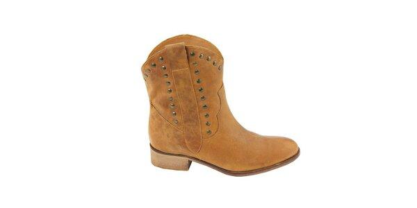 Dámske pieskové semišové kovbojské topánky s cvočkami Eye