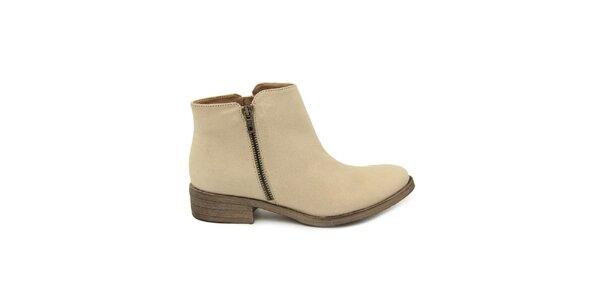 Dámske béžové členkové topánky so zipsom Giorgio Picino