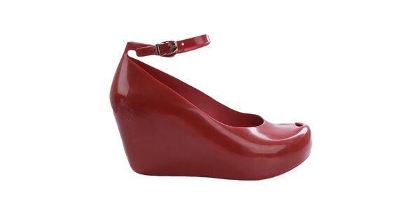 Dámske červené topánky na platforme Mel