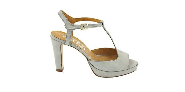 Dámske šedo-modré pásikové sandálky s prackou Eye