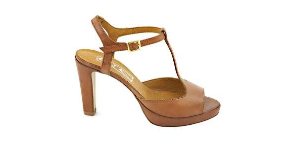 Dámske karamelovo hnedé pásikové sandálky s prackou Eye