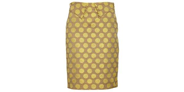 Dámska hnedo-žltá púzdrová sukňa Pietro Filipi s velkými bodkami