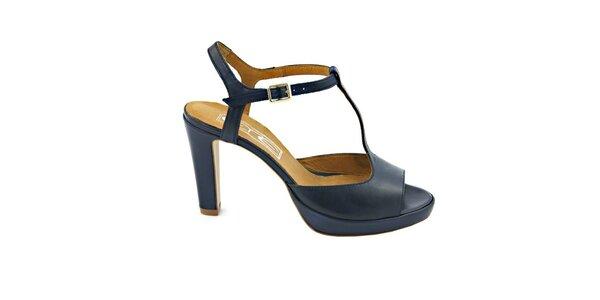 Dámske temne modré pásikové sandálky s prackou Eye