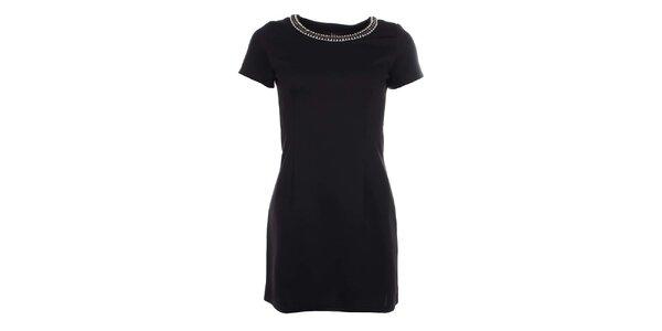 Dámske čierne šaty s krátkym rukávom Iska