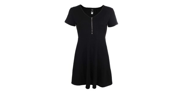 Dámske čierne šaty so zipsom Iska