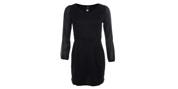 Dámske čierne šaty s transparentnými rukávmi Iska