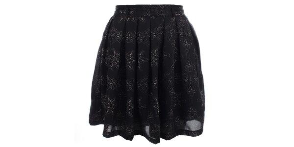 Dámska čierna sukňa s jemnou potlačou Iska