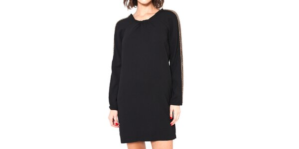 Dámske čierne voľné šaty so zlatými prúžkami Mademoiselle Agathe