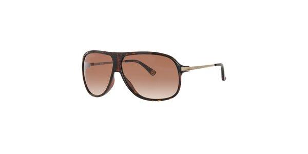 Pánske tmavo hnedé žíhané slnečné okuliare Michael Kors