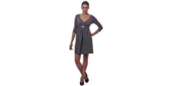 Dámske šedo-fialové hodvábne šaty Miss Sixty