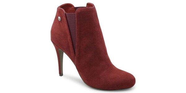 Dámske červené semišové kotníčkové topánky na ihlovom podpätku Blink