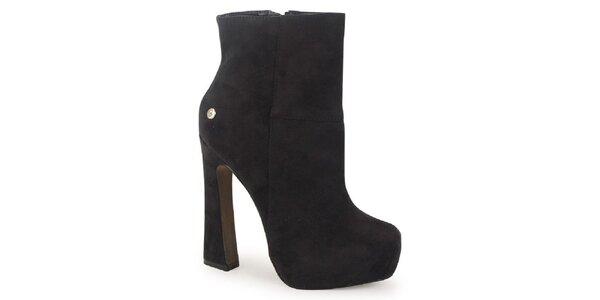 Dámske hnedé semišové kotníčkové topánky na atypickom podpätku Blink