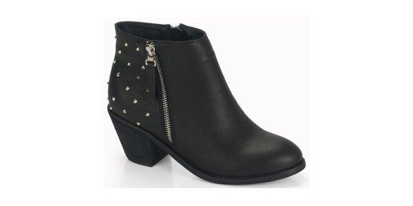 Dámske čierne kotníčkové topánky na podpätku s cvokmi Blink