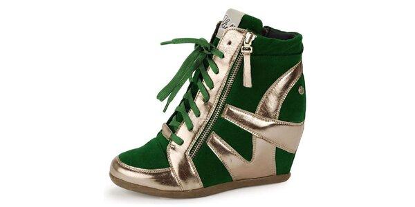 Dámske zeleno-zlaté futuristické kotníčkové topánky Blink