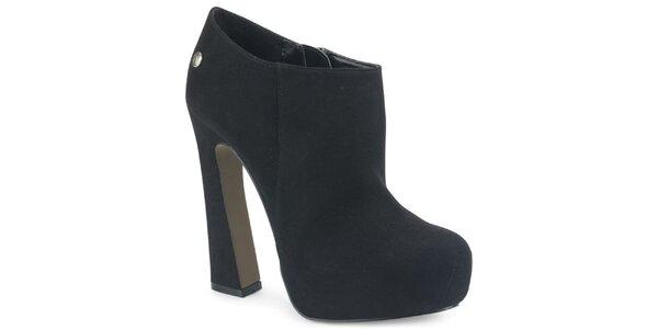 Dámske čierne semišové kotníkové topánky s atypickým podpätkom Blink