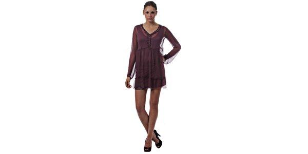 Dámske vínové dvojvrstvové šaty Miss Sixty