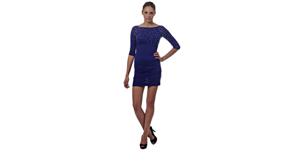 Dámske tmavo modré mini šaty Miss Sixty s kovovými korálkami