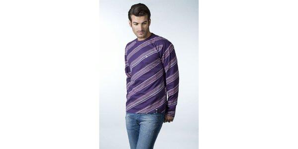 Pánske fialové tričko CLK so šikmými prúžkami
