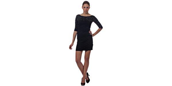 Dámske čierne mini šaty Miss Sixty s kovovými korálkami