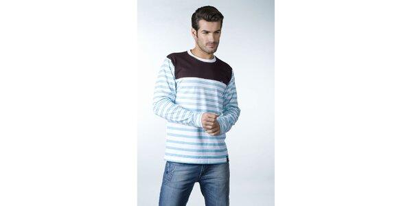 Pánske modro-biele prúžkované tričko CLK s hnedým sedlom