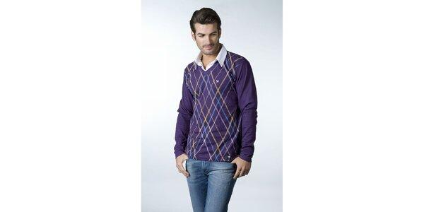 Pánske fialové tričko CLK s košeľovým golierikom a károvaným vzorom