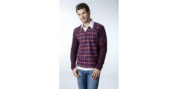 Pánske vínové tričko CLK s kockovaným vzorom a košeľovým golierikom