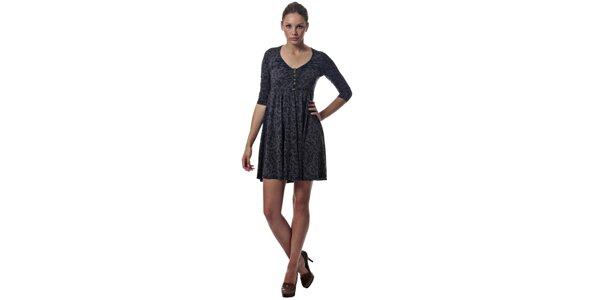 Dámske tmavo šedé šaty Miss Sixty s černym vzorom
