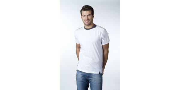Pánske biele tričko CLK so šedým detailom