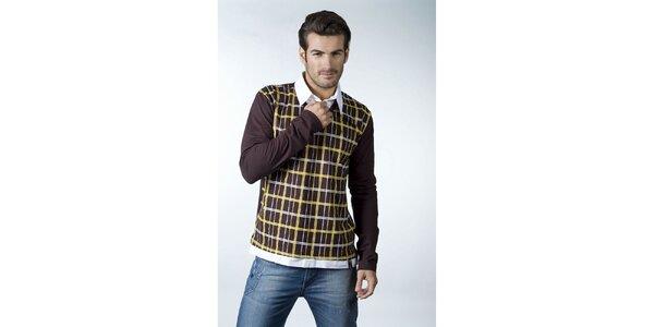 Pánske tmavo hnedé tričko CLK s kockovaným vzorom a košeľovým golierikom