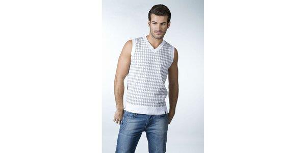 Pánská bielo-šedá károvaná vesta CLK