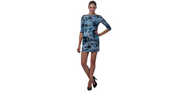 Dámske modré mini šaty Miss Sixty s kvetinovým vzorom